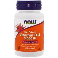 NOW Foods Витамин D3 5000 МЕ 120 капс